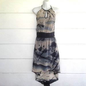 W118 By Walter Baker Gray Halter Dress High Low M